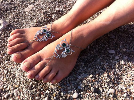 Owl barefoot sandal by HIPPYANNE on Etsy, $20.00