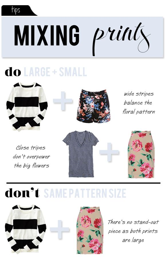 If you want to have some balance when mixing prints there is just one thing you should keep in mind: Large patterns go with small ones and ...