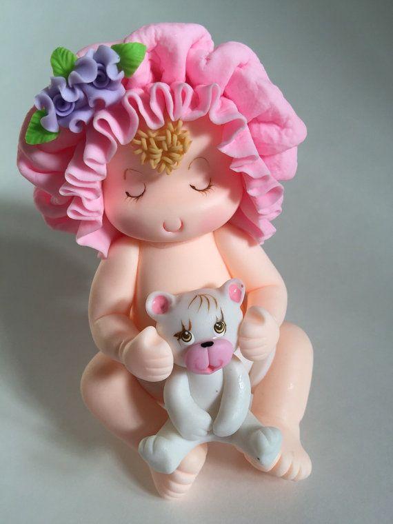 Baby Girl and Teddy Bear Cake topper