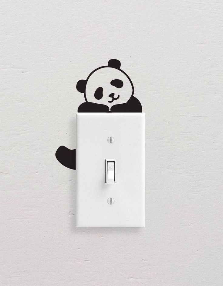 panda wall decals panda light switch decal simple panda on wall stickers painting id=96860