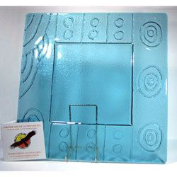 Wathaurong Glass - Blue Glass Dish - Aura Gift Box $110  http://www.auragiftbox.com.au/wathaurong-glass-blue-glass-dish/ Square (40cm x 40cm) drop blue glass dish. The company was formed to express aboriginal art in glass, this may include the use of kiln forming, sandblasting or any other technique suitable to achieve the desired result. Great pride is taken in producing unique artwork. Collected by Museums and Art Galleries world wide.