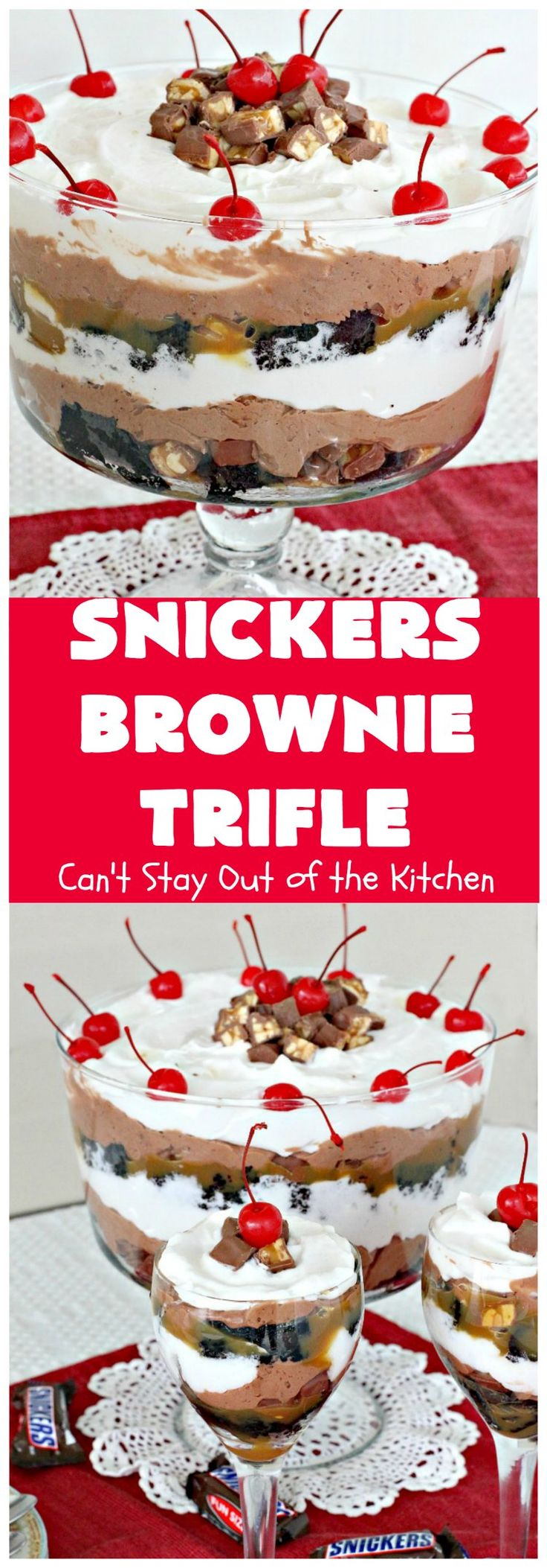 Snickers Brownie Trifle | Can't Stay Out of the Kitchen | this rich & decadent dessert is filled with homemade #brownies, #Snickers bars, #chocolate pudding & #caramel sauce. It's the perfect #dessert for the #holidays, #Christmas, #ValentinesDay or special occasions.