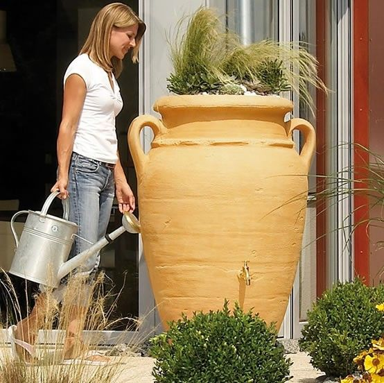 The 250L Antique Amphora Water Butt is a Mediterranean-style rainwater vase storage tank, available in 3 colours; Granite, Sandstone & Terracotta.