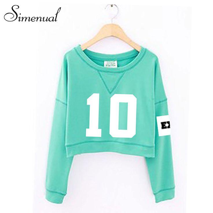2016 new EXO crop women hoodies and sweatshirt number print cute short pullover sweatshirt ladieswear casual sudaderas mujer