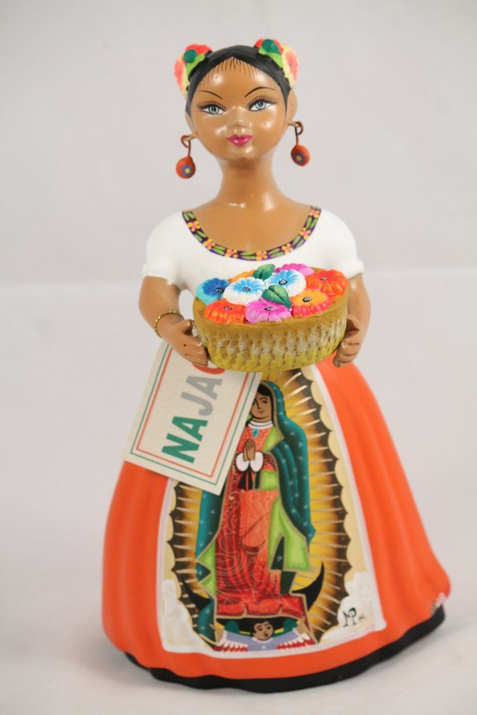 Lupita Najaco Ceramic Doll/Figurine Our Lady Guadalupe Mexican Folk Art Orange
