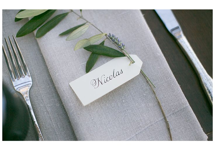 Grey linens, simple placecard