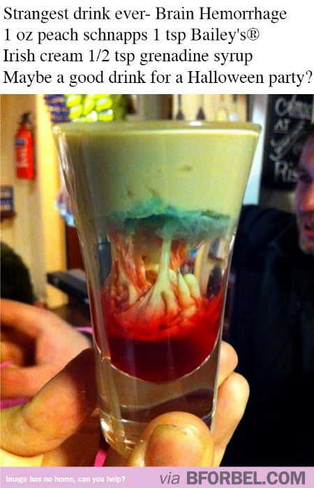 Coolest Halloween drink ever- Brain Hemorrhage! #recipe  Maybe use butterscotch schnapps instead (so it tastes better)