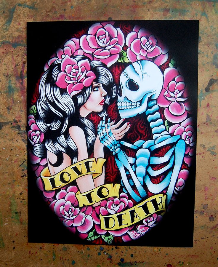 Romantic Tattoo Art Love to Death Signed Art Print by Carissa Rose Art Print - Till Death Do Us Part Tattoo Art Skeleton and Pin Up Girl by NeverDieArt on Etsy https://www.etsy.com/listing/65166624/romantic-tattoo-art-love-to-death-signed