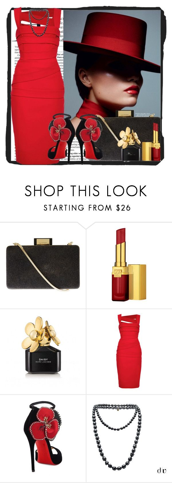 lady in red by sonia1 on Polyvore featuring Christian Louboutin, Lanvin, Chanel, Estée Lauder and Marc Jacobs