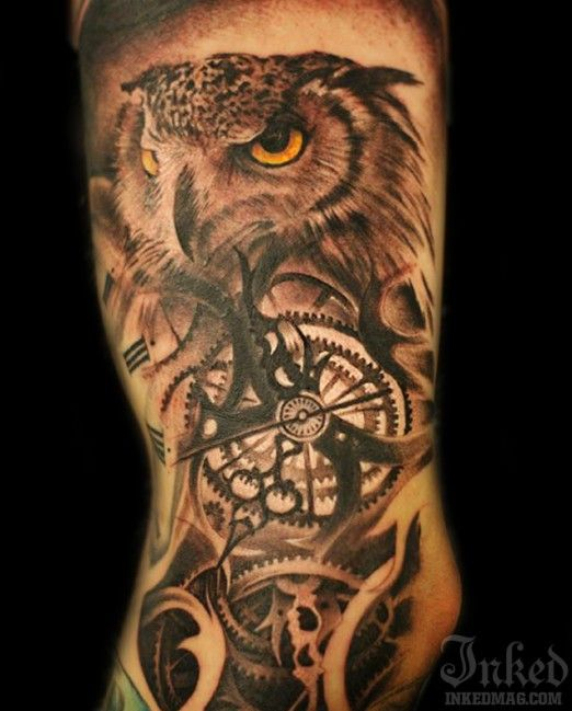 Owl tattoo by Oscar Askermo - With time you got to be wise ...