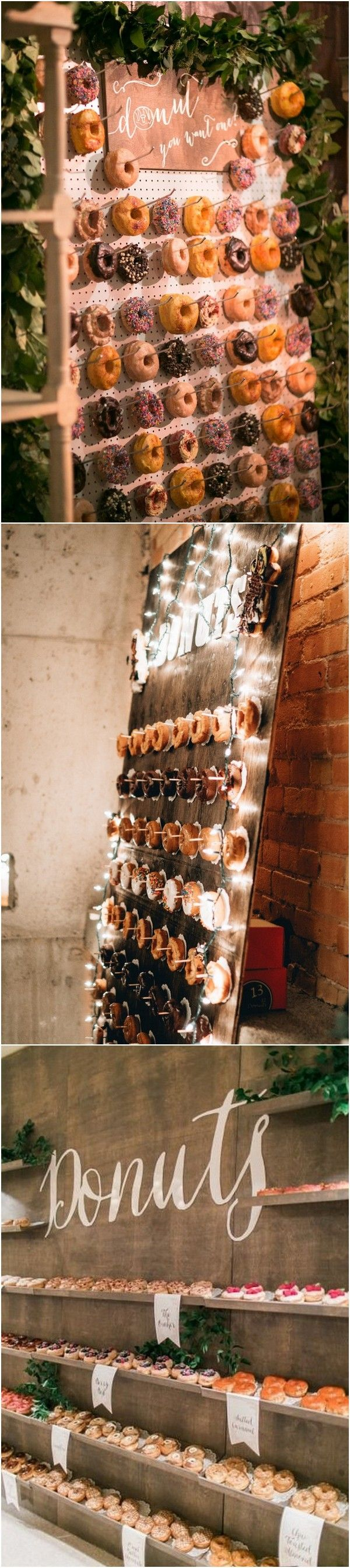 rustic wedding decoration ideas with donuts wall