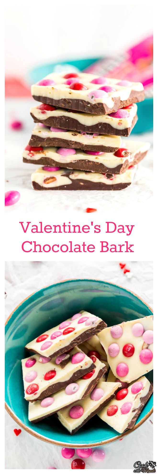 Easy Valentine's Day Chocolate Bark with layers of dark and white chocolate and topped with M&M's® Strawberry. The perfect little gift for your loved one! #chocolate #dessert #valentines