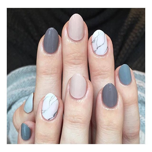 Nail Polish Marble Effect On Glass: Colour Combination, Light Pink, Grey, Marble Effect