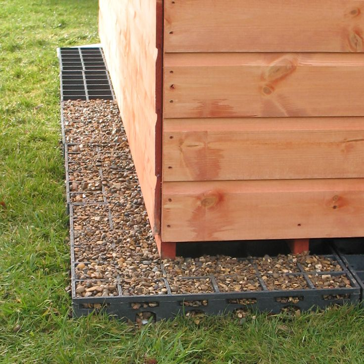 Ecobase Shed base Pea gravel to make French drains