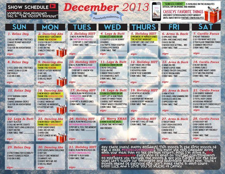 Calendário de DEZEMBRO do POP Pilates