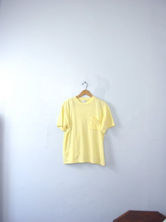 Vintage 80's pastel yellow shirt with pocket pale by manorborn