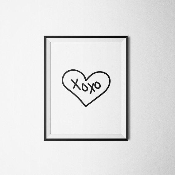XOXO poster Heart poster Hugs and kisses Black & von PRINTandDECOR