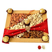Rakhi with Yummy Chocolates and Dry Fruits                                                                                                                                                                                 More