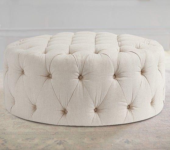 Round Tufted Ottoman, Erin Linen Oatmeal | Pottery Barn Kids