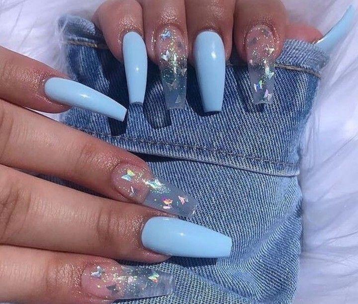 Makeup Acrylic Nails Baby Blue Acrylic Nails Acrylic Nails With Butterflies In 2020 Pink Acrylic Nails Blue Acrylic Nails Baby Blue Acrylic Nails