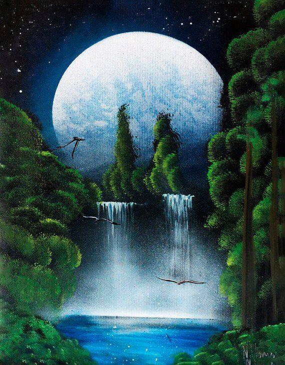 Moon Landscape Painting Flying Bird Waterfall Painting Acrylic Picture On Canvas Original Paintin Nature Paintings Nature Paintings Acrylic Waterfall Paintings