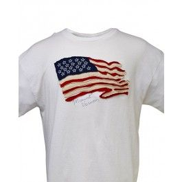 """A rustic looking American flag with embroidered stars is appliquéd to the front of this white t-shirt. """"Mount Vernon"""" is embroidered in gray just below the flag. The words """"Made in USA"""" are printed on the left sleeve. Made of 100% US cotton. This pre-shrunk shirt is machine washable. Proudly made in the U.S.A. A wonderful patriotic shirt for any day of the year!"""