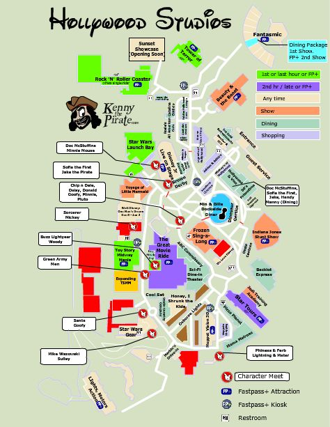 Disney World Characters | Printable Hollywood Studios Character Location Map | KennythePirate