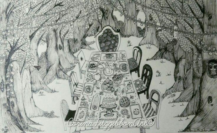 """Abandoned Tea Party"" Tea party || Alice in Wonderland || Pen drawing || Illustration || Home décor || Mad Hatter || Tea || Tea lover || Art || Irish Artist || CorinaFitzgibbonArt© All rights reserved."