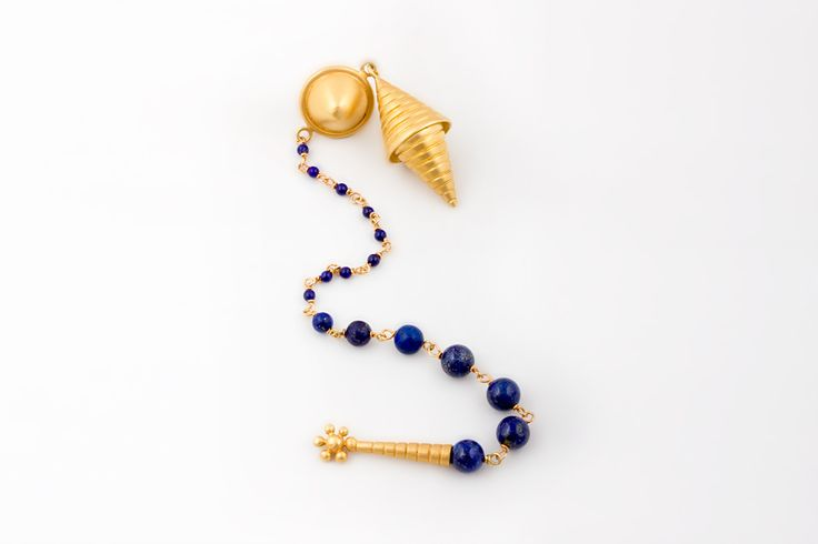 Safya Earrings Gold - Silver earrings with 24K Gold plating , matte finish and lapis lazuli stone chain. From Collection no.1