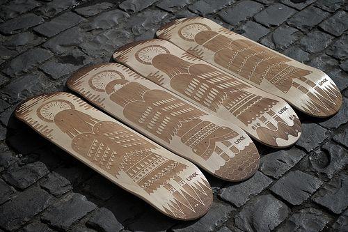 Laser Engraved Skateboards for Andrew Groves