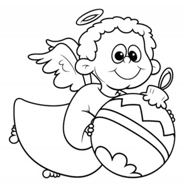 Little Angel Brings Christmas Ornament Coloring Pages For Kids Printable Angels