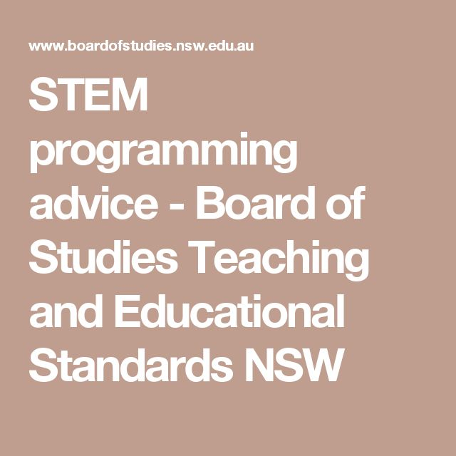 STEM programming advice - Board of Studies Teaching and Educational Standards NSW