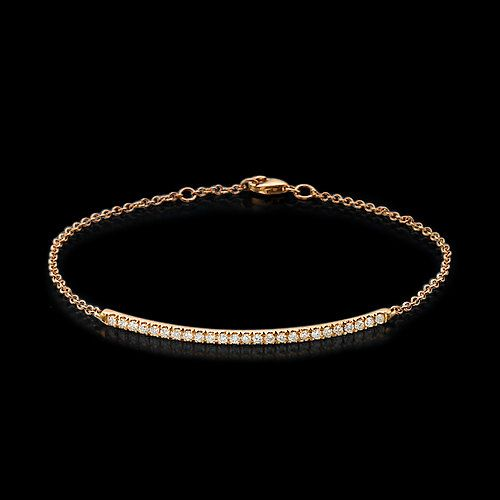 Diamond bar bracelet single row bracelet diamond by GaliWarshai