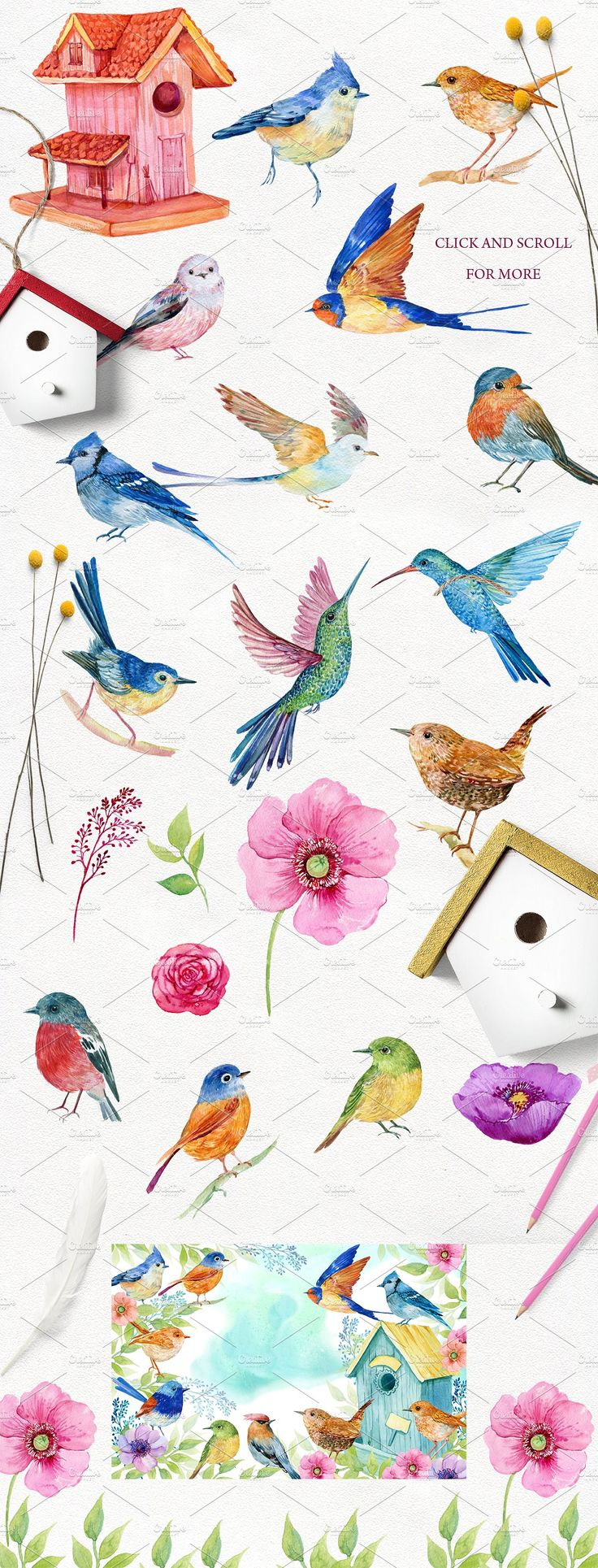 30 little birds.watercolor by MitrushovaArt on @creativemarket