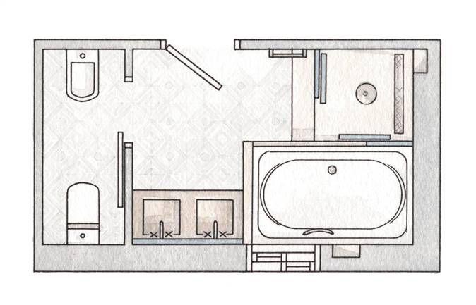 Planta de baño con ducha, bañera, tocador con lavamanos de doble seno, inodoro y…