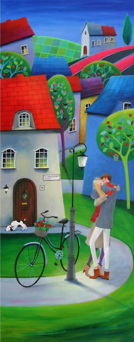 """At 14, St. Valentine's Street"" by © Iwona Lifsches 2014, acrylic on canvas, 40x100 cm http://www.iwonalifsches.com pic.twitter.com/wLUIVk5cjK"