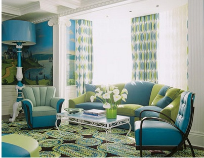 Analogous: This room shows an analogous color scheme of green, blue-green,