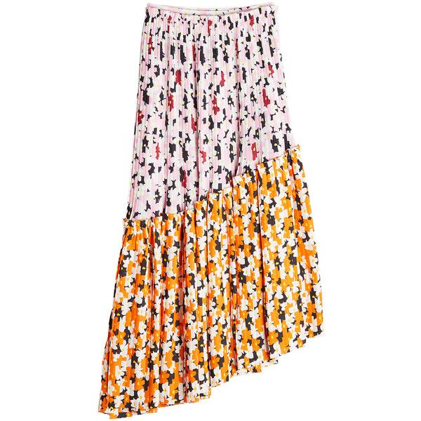 Kenzo Asymmetric Print Skirt found on Polyvore featuring skirts, multicolored, textured skirt, pink pleated skirt, pleated skirt, patterned skirts and pattern pleated skirt