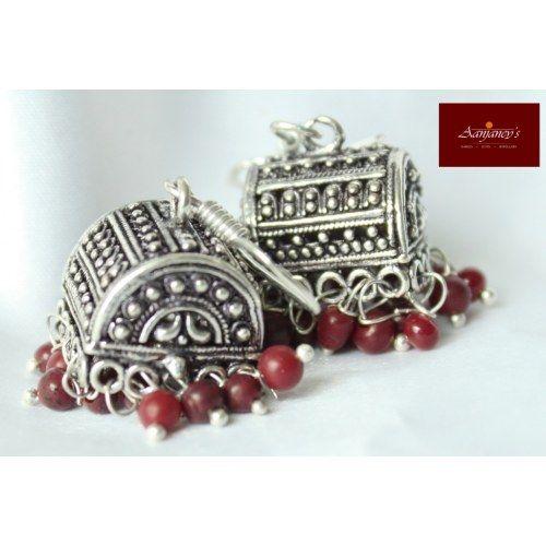 Rajasthani Earrings Jhumkas Drops Danglers Ethnic Traditional Oxidized White metal Garba Dandiya - Online Shopping for Earrings by Aanjaney's