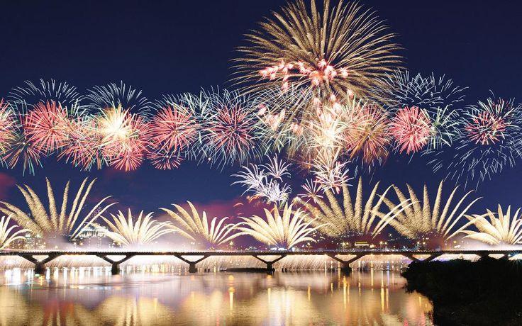 Фары, ночь, фейерверки, небо, город, мост разделе 24x36 дюймов искусство шелковый плакат Декор Стены
