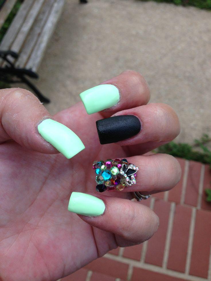 Neon baby green polish Junk nails Crazy art nail Black leather matte polish Butterfly junk nail