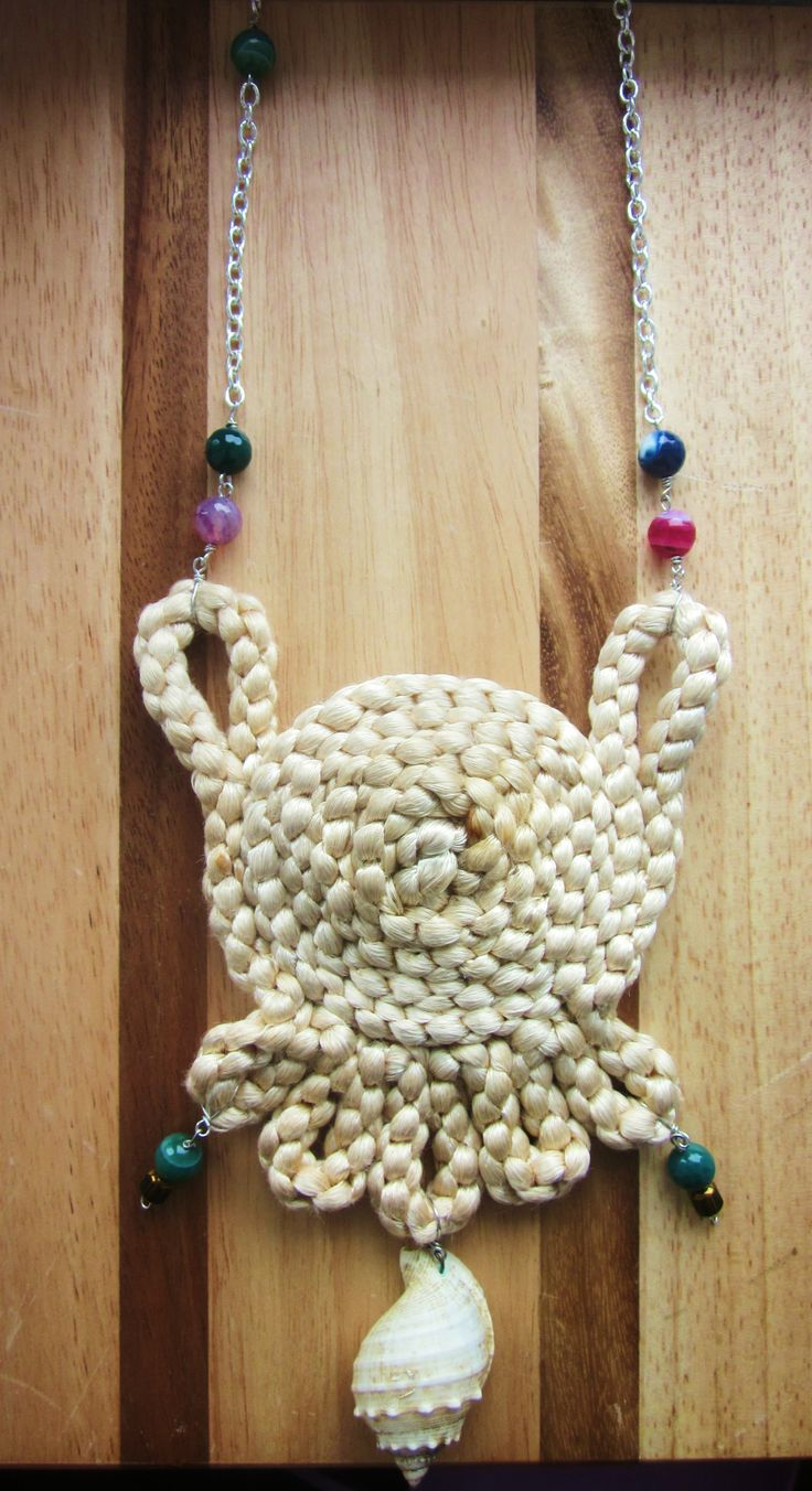 """"""" Purse Necklace """" Shell , cotton , agate gemstones , crystals & silver plated chain """""""
