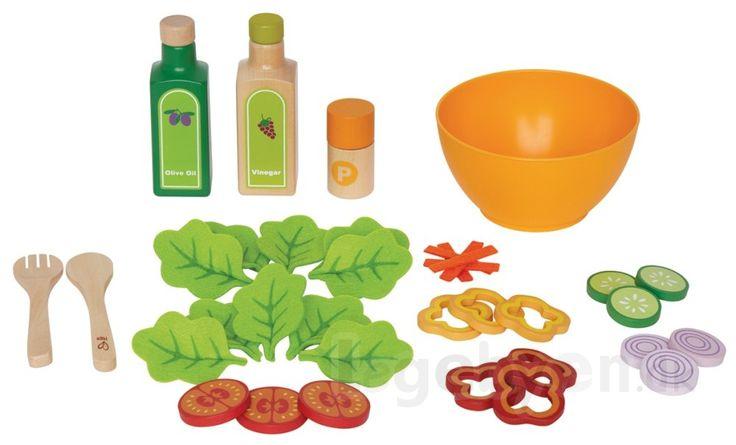 Køb Legemad - Salat i træ & filt fra Hape - 36 dele. online - Hape