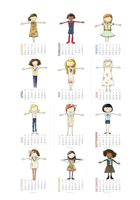 2013 Little Girl PRINTABLE PDF  Calendar and DIY Garland