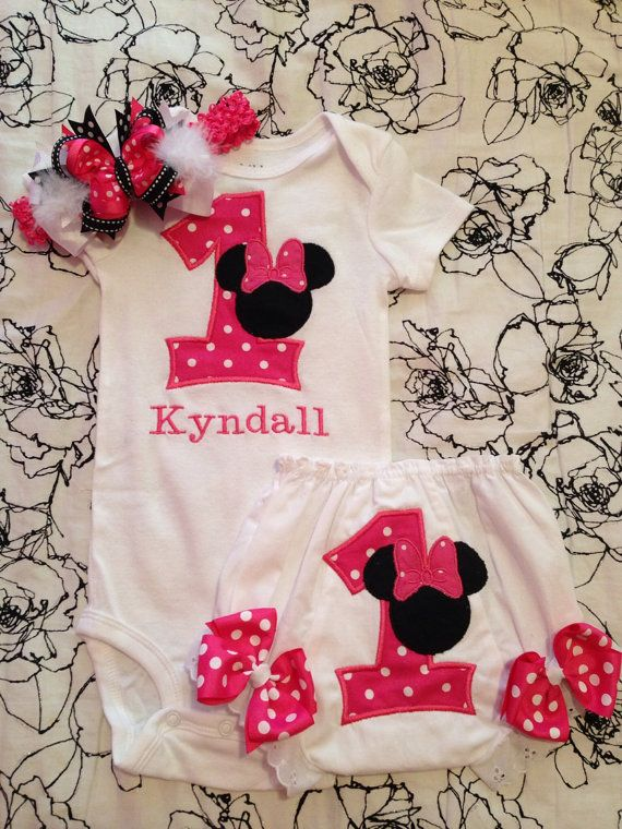 Minnie Mouse personalized First Birthday outfit pack on Etsy, $38.00