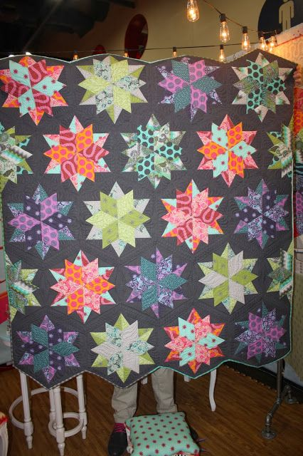 Quilt Market: Tula Pink - Fox Fields made with JayBird Quilts' Night Sky pattern