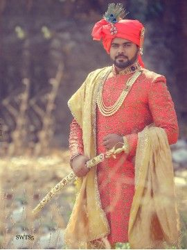 Neon Orange Color Sherwani