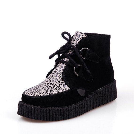 Léopard imprimé modèle lacer féminin 2014 fashion Goth Creepers Punk Wedge haut pompes haut Casual chaussures bottines plate-forme plate féminines sur Etsy, 22,74€