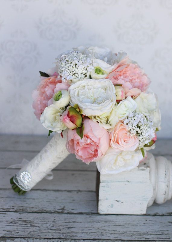 Silk Bride Bouquet Peonies Roses Rustic Chic by braggingbags, $110.00