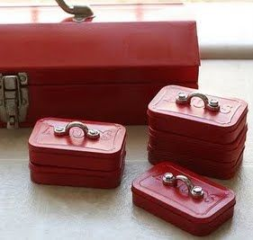 Toolbox favors made out of altoid tins. Cute favor idea!